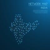 Indien nätverksöversikt royaltyfri illustrationer