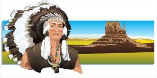 Indien nord-américain, portant une coiffe traditionnelle illustration de vecteur