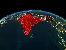 Indien på jord på natten Arkivbilder