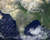 Indien-Raum-Satellitenbild, Asien stockfotografie