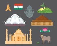 Indien-Reisevektorikonen Lizenzfreie Stockbilder
