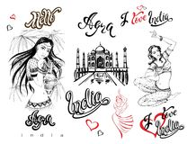 Indien Set Elemente für Auslegung agra Taj Mahal-Skizze Indische Mädchen im nationalen Kostüm Tänzer Stilvolle Beschriftung Reise stock abbildung