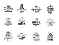 Indien självständighetsdagen, 15th august vektoremblem Royaltyfria Foton