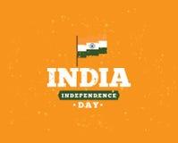 Indien självständighetsdagen, 15th august vektoremblem Fotografering för Bildbyråer