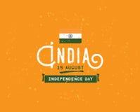 Indien självständighetsdagen, 15th august vektoremblem Royaltyfria Bilder