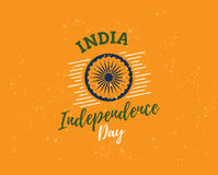 Indien självständighetsdagen, 15th august vektoremblem Royaltyfri Bild