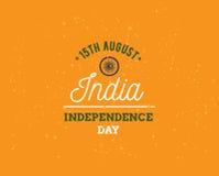 Indien självständighetsdagen, 15th august vektoremblem Arkivbilder