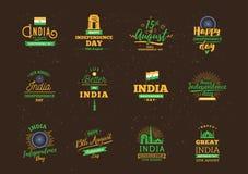 Indien självständighetsdagen, 15th august vektoremblem Royaltyfri Fotografi