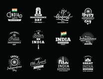 Indien självständighetsdagen, 15th august vektoremblem Royaltyfri Foto