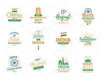 Indien självständighetsdagen, 15th august vektoremblem Arkivfoto