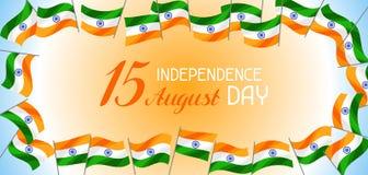Indien självständighetsdagenbaner Th för beröm 15 av Augusti vektor illustrationer