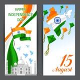 Indien självständighetsdagenbaner Th för beröm 15 av Augusti royaltyfri illustrationer