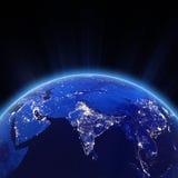 Indien stadsljus på natten Arkivbilder