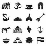 Indien symbolssvart royaltyfri illustrationer