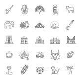 Indien symbolsuppsättning Indiska dragningar, linje design Turism i Indien, isolerad vektorillustration traditionella symboler Royaltyfria Bilder