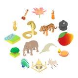 Indien symbolsuppsättning, isometrisk stil 3d Royaltyfria Bilder