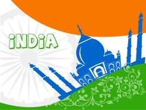 Indien turism, Indien lopp med mahal agra för taj bakgrund royaltyfri illustrationer