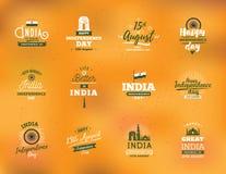 Indien-Unabhängigkeitstag, am 15. August Vektorembleme Lizenzfreie Stockfotos