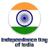 Indien-Unabhängigkeitstag 15. des herrlichen Kreises stilisierte Zustandsflagge von Indien Feiertagshintergrund, Karte Lizenzfreies Stockfoto