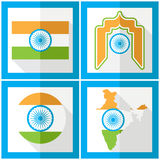 Indien-Unabhängigkeitstag 15. des herrlichen Satzes Ikonen in der flachen Art Stockfotos