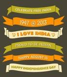 Indien-Unabhängigkeitstag-Fahnen Lizenzfreie Stockbilder