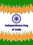 Indien-Unabhängigkeitstag Grußkarte, Hintergrund, Fahne in der flachen Art Lizenzfreie Stockfotografie