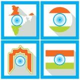 Indien-Unabhängigkeitstag Satz Ikonen in der flachen Art Stockbild