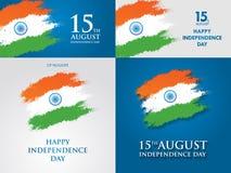 Indien-Unabhängigkeitstaggrußkarten-Vektorillustration 15. August Unabhängigkeitstag Stockfotos