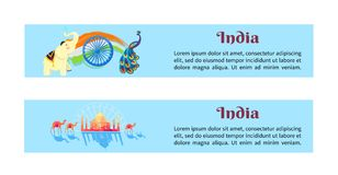 Indien uppsättning av affischer med symboler av landet stock illustrationer