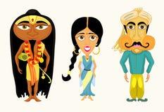 Indien uppsättning en flicka, en man och en yogivektorillustration Royaltyfria Bilder