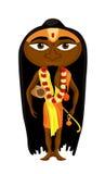 Indien yogiman med långt hår också vektor för coreldrawillustration Royaltyfri Fotografi