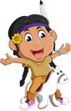 Indiens d'Amerique de fille avec le cheval Images stock
