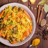 Indier Biryani med höna och kryddor fotografering för bildbyråer