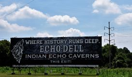 Indier Echo Caverns som lokaliseras i Hummelstown, Pennsylvania Royaltyfri Bild