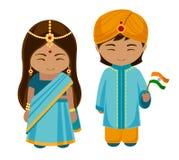 Indier i nationell klänning med en flagga royaltyfri illustrationer