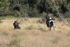 Indier och soldat Doing Battle Arkivfoto