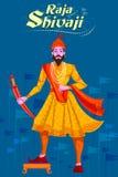 Indier Raja Shivaji med svärdet Arkivfoton