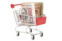 Indier 1000 rupier i shoppingvagn Arkivbilder