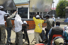 Indier som skjuter en film i Mauritius Royaltyfria Foton