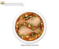 Indierhönacurry, en berömd maträtt i Indien vektor illustrationer
