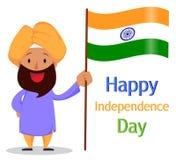 Indiern uppsökte mannen i en hållande nationsflagga för turban Independe royaltyfri illustrationer