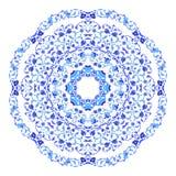 Indierrundaprydnad, kalejdoskopisk blom- modell, mandala Design som göras i rysk gzhelstil och färger royaltyfri illustrationer