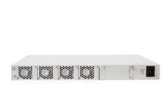 Indietro del commutatore di Ethernet di gigabit con la scanalatura di SFP Immagine Stock