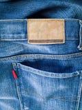 Indietro delle blue jeans Fotografie Stock