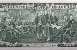 Indietro di un primo piano di banconota da due dollari Fotografia Stock