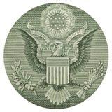 Indietro di una banconota in dollari Fotografia Stock