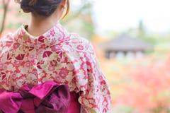 Indietro di una ragazza abbastanza giapponese in bella atmosfera Immagini Stock