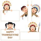 Indigène et bannières de jour de thanksgiving réglés Photos libres de droits