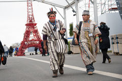 Indigenous activists at climate conference Stock Photos