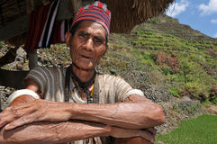Indigenous aged man. Indigenous senior citizen of the mountains in Southeast Asia Stock Images